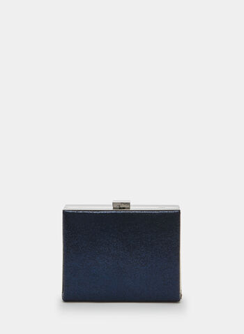 Metallic Box Clutch, Blue, hi-res