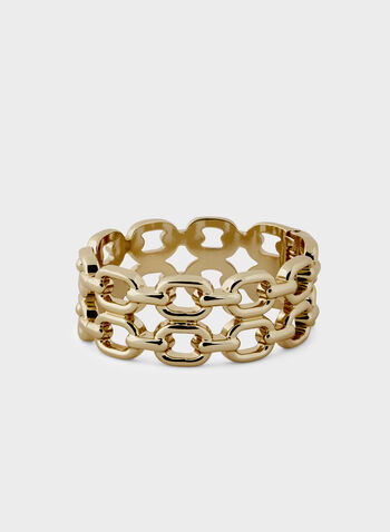 Chain Link Hinge Bangle, Gold, hi-res