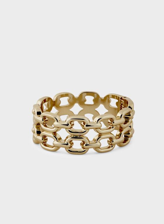 Chain Link Hinge Bangle, Gold, hi-res