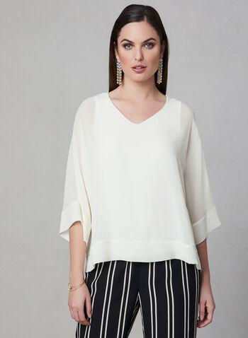 ¾ Sleeve Kimono Blouse, Off White, hi-res