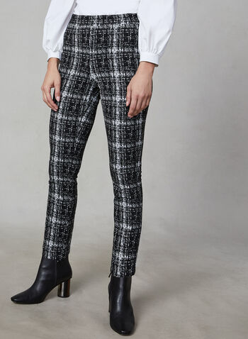 Joseph Ribkoff - Plaid Pants, Black,  Joseph Ribkoff, pants, plaid, straight leg, pull on, fall 2019, winter 2019