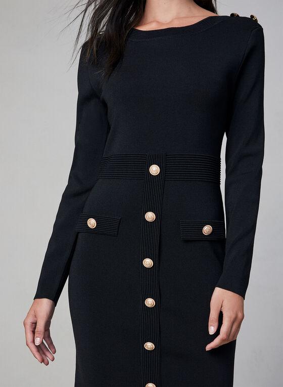 Frank Lyman - Robe en tricot à détails boutonnés, Noir, hi-res