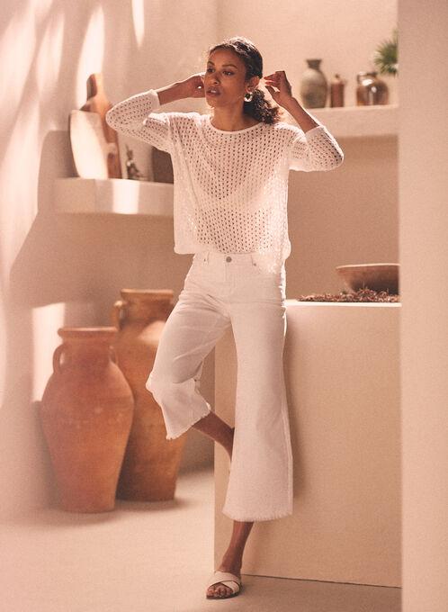 Jeans gaucho à ourlet effiloché, Blanc