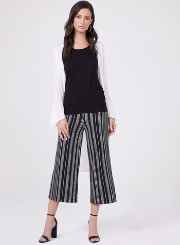 Dot Stripe Print Culottes, Black, hi-res