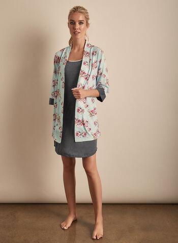 Comfort & Co. - Robe & Nightgown Set, Blue,  spring summer 2020, sleeveless, robe, kimono, jersey fabric, nightgown, pyjama