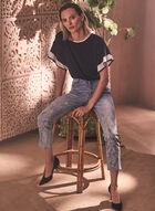 Leaf Detail Embellished Jeans, Blue