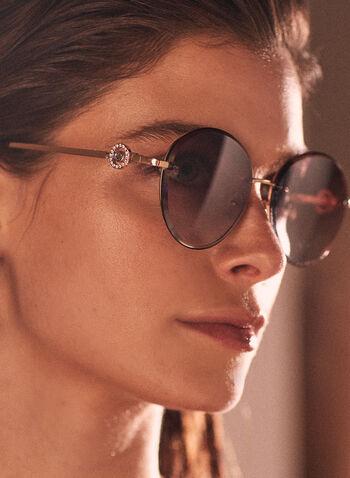 Lunettes de soleil rondes détail strass, Or,  printemps été 2021, accessoires, lunettes de soleil, rond, strass