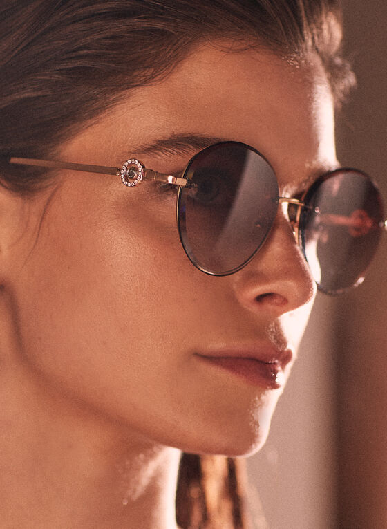 Crystal Detail Sunglasses, Gold