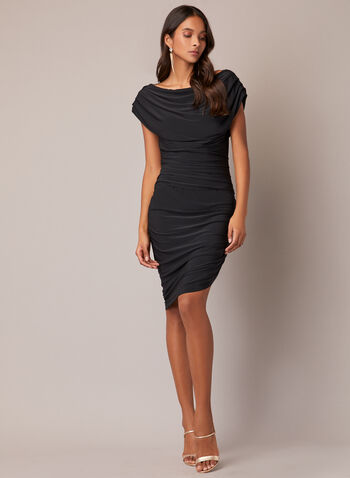 Draped Cocktail Dress, Black,  fall winter 2020, dress, cocktail dress, short sleeves, boat neckline, draped, fitted, tight, asymmetrical, slit, jersey