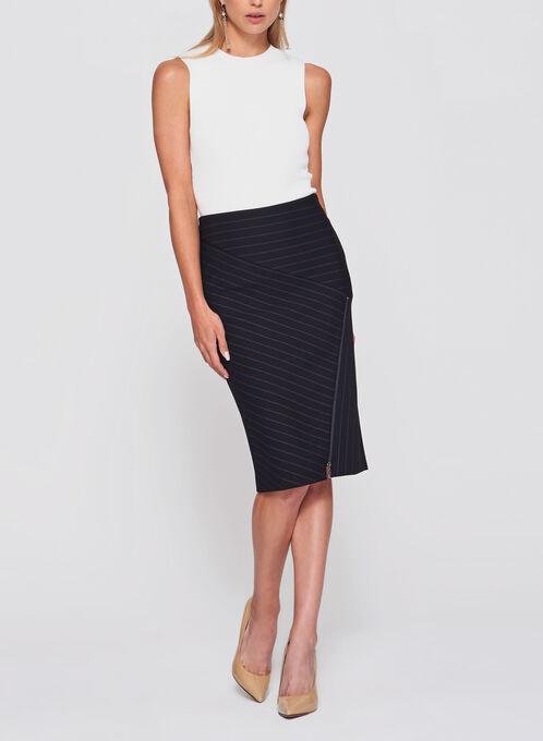 Bias Stripe Print Ponte Pencil Skirt, Black, hi-res