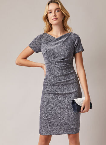 Drape Neck Metallic Dress, Blue,  cocktail dress, drape neck, short sleeves, metallic, spring summer 2020
