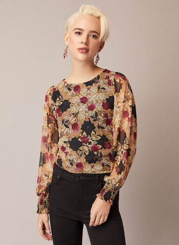 Mesh Blouse With Baroque Floral Print, Black,  fall winter 2020, made in Canada, mesh, flowers, pattern, long sleeves, smocked, holiday
