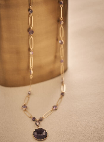 Faceted Stone Necklace, Purple,  spring summer 2021, accessory, accessories, jewelry, jewellery, pearl, beads, gold metal,