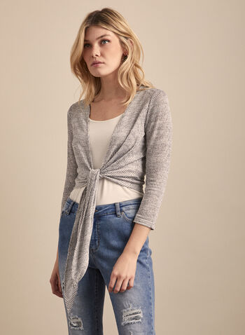 Tie Front Jacquard Top, Grey,  top, open, tie, knot, 3/4 sleeves, jacquard, spring summer 2020