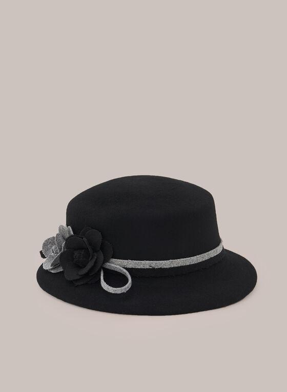 Felted Hat With Floral Details, Black
