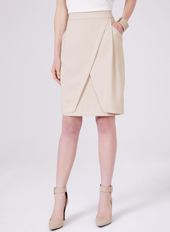 Drape Effect Pencil Skirt, Off White, hi-res