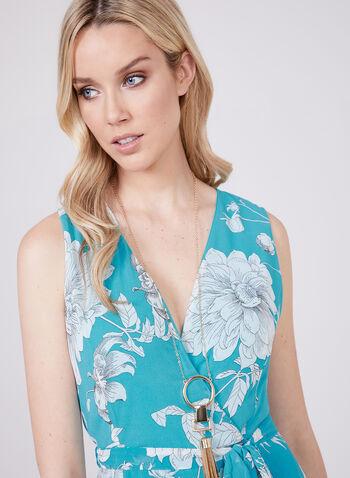 Sandra Darren – Sleeveless Floral Print Dress, Blue, hi-res