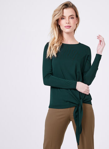 Side Tie Long Sleeve Jersey Top , Green, hi-res