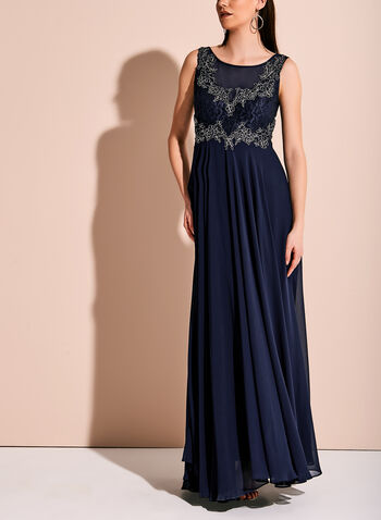 Beaded Lace Chiffon Gown, Blue, hi-res