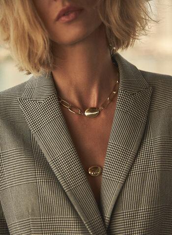 Collier étagé à chaînes et pierres métalliques, Or,  accessoires, bijoux, collier, chaînes, maillons grosseurs variés, pierres métalliques, couleur dorée, deux étages, automne hiver 2021