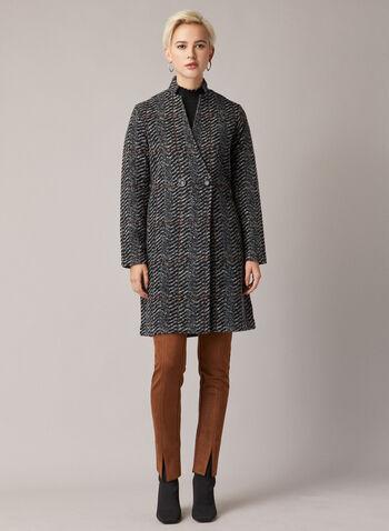 Manteau motif chevrons en laine mélangée, Gris,  manteau, chevrons, boutons, laine, poches, automne hiver 2020