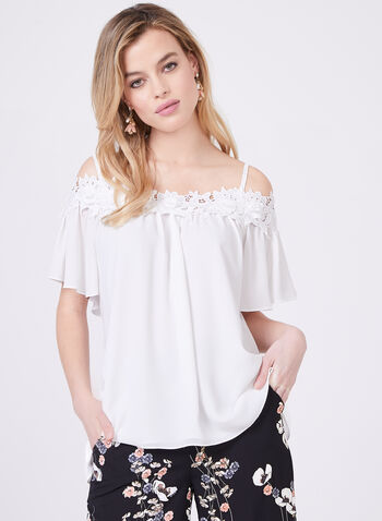 Frank Lyman - Off the Shoulder Lace Detail Blouse, Off White, hi-res