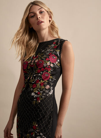 Frank Lyman - Embellished Mesh Dress, Black,  spring summer 2020, sleeveless, mesh fabric, sequin, bead, embroidery