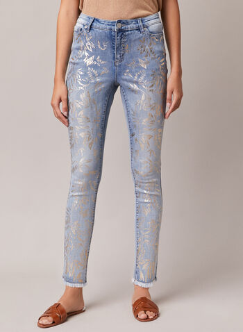 Leaf Print Slim Leg Jeans, Blue,  jeans, slim leg, leaf print, metallic, mid rise, frayed hems, pockets, denim, spring summer 2020