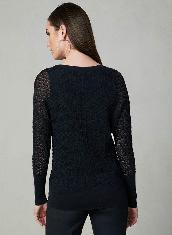 Pointelle Knit Sweater, Black