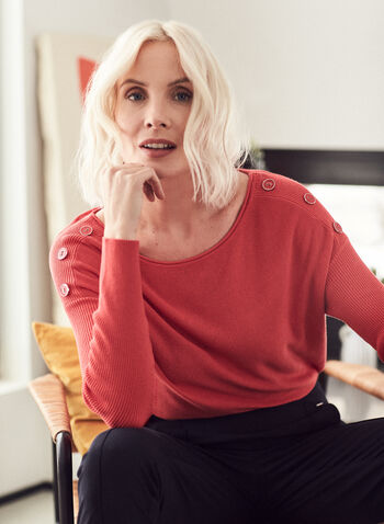 Dolman Sleeve Button Detail Sweater, Orange,  sweater, ribbed knit, dolman sleeve, button details, boat neck, spring summer 2021