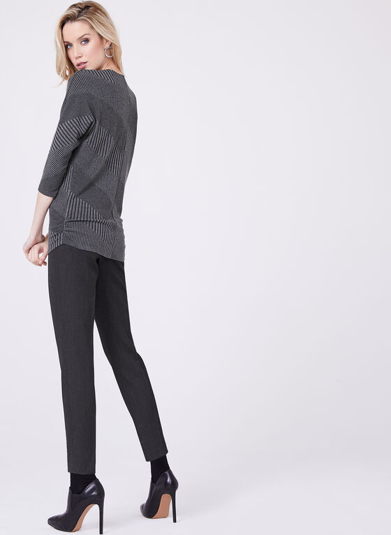 Zipper Neck Rib Knit Sweater, Grey, hi-res