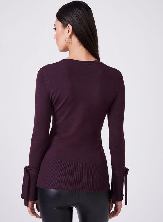 Long Bell Sleeve Knit Top, Purple, hi-res