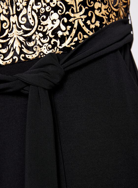 Combinaison avec corsage imprimé tapisserie dorée, Noir, hi-res
