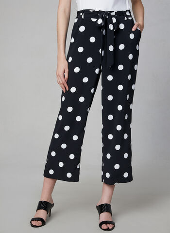 Polka Dot Print Culottes, Black, hi-res