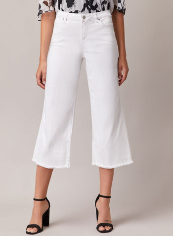 Frayed Hem Gaucho Jeans, White,  jeans, gaucho, frayed, denim, wide leg, spring summer 2020