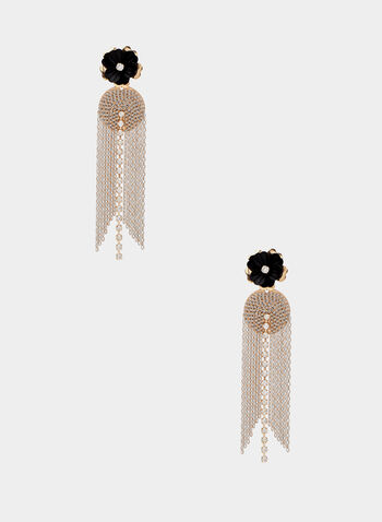 Flower & Cascade Chain Earrings, Black,  crystal, chain, cascade, earrings, spring summer 2020