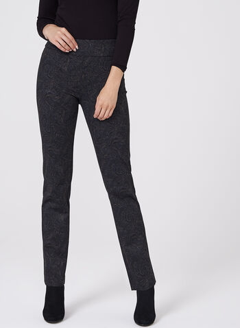 Paisley Print Straight Leg Pants, Black, hi-res