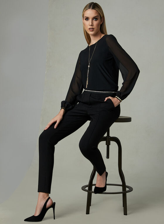 Chiffon Balloon Sleeve Blouse, Black, hi-res