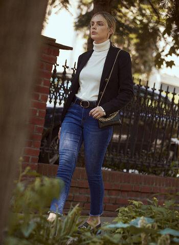 Blazer à poches et col cranté, Noir,  blazer, veste, poches, boutons, dorés, zip, fermeture éclair, agrafe, manches longues, col cranté, poches à rabat, poche à zip, automne 2021