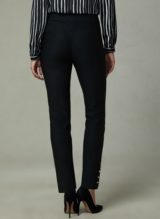 Pearl Detail Pants, Black, hi-res