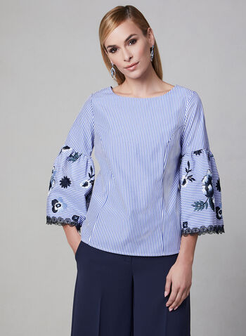 Joseph Ribkoff - Embroidered Cotton Blouse, Blue, hi-res