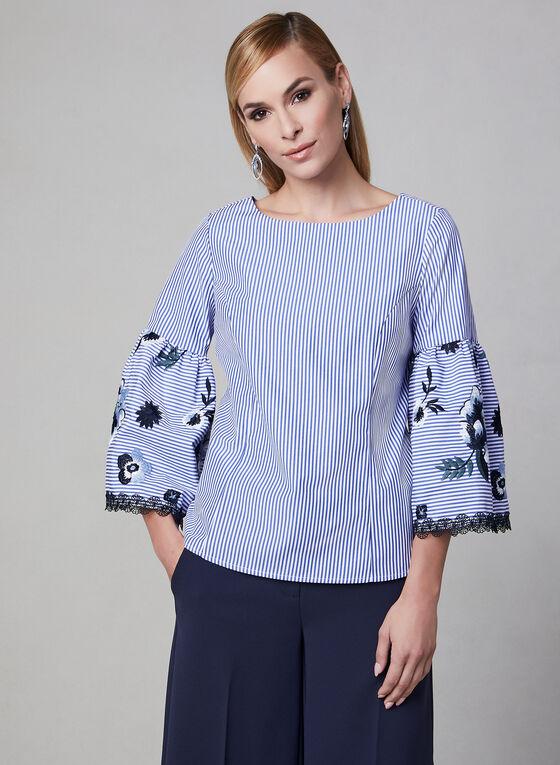Joseph Ribkoff - Haut rayé à broderies florales, Bleu, hi-res