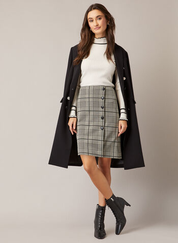 Tartan Print Button Detail Skirt, Black,  fall winter 2020, skirt, tartan print, buttons, wrap, knit