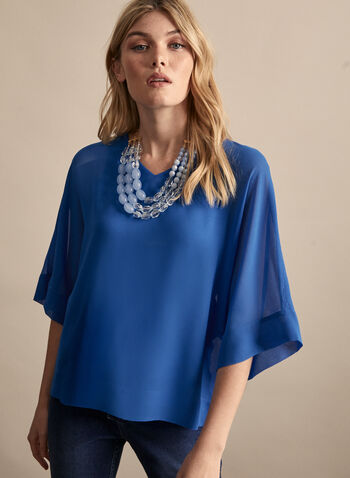 Chiffon Kimono Sleeve Blouse, Blue,  top, blouse, chiffon top, chiffon, chiffon blouse, v-neck, spring 2020, summer 2020