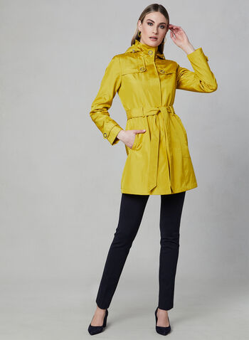 Novelti - Hooded Trench Coat, Yellow, hi-res