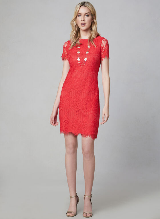 Kensie - Scalloped Lace Dress, Orange, hi-res