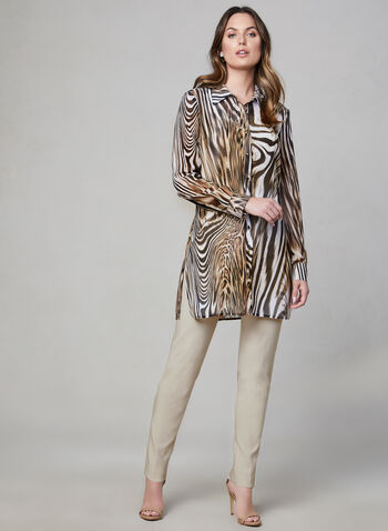 Frank Lyman - Animal Print Duster Blouse, White, hi-res