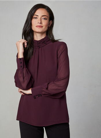 Long Sleeve Chiffon Blouse, Purple,  blouse, chiffon, long sleeves, fall 2019, winter 2019