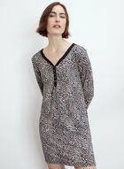 Animal Print Button Details Nightgown, Black