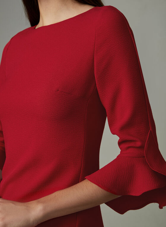 Karl Lagerfeld Paris - Ruffle Sleeve Crepe Dress, Red, hi-res